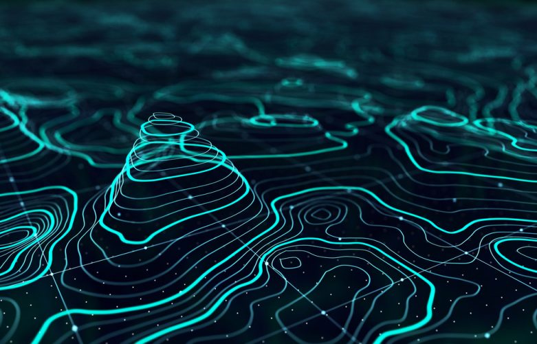 3D topographic map background concept